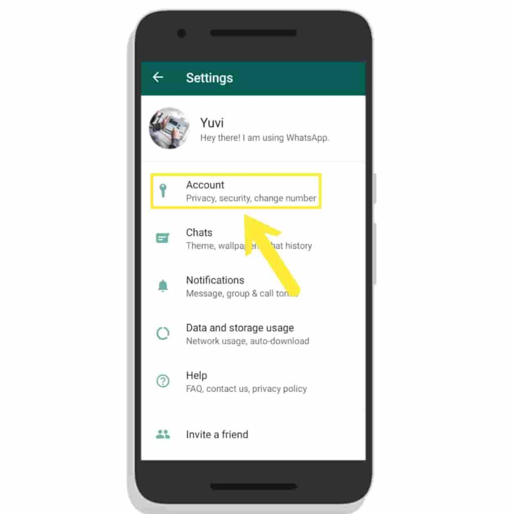 Click on Account Option in WhatsApp