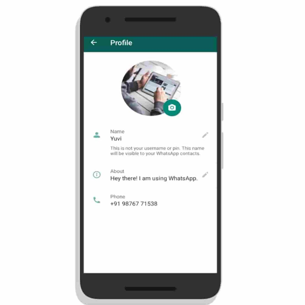 WhatsApp Profile Picture Interface