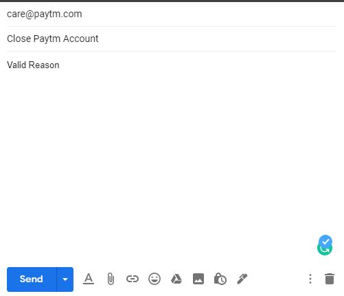 Close Paytm Account Email in Hindi