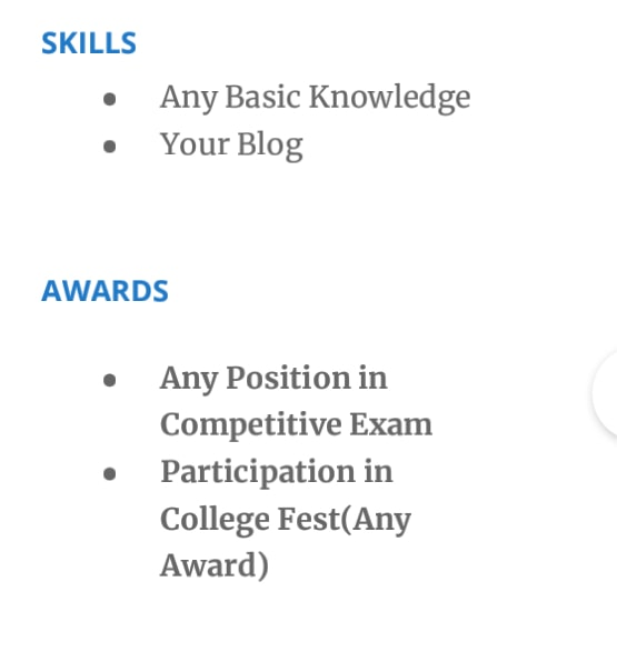 Resume Additional Section for Fresher