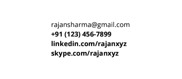 Resume Contact Details