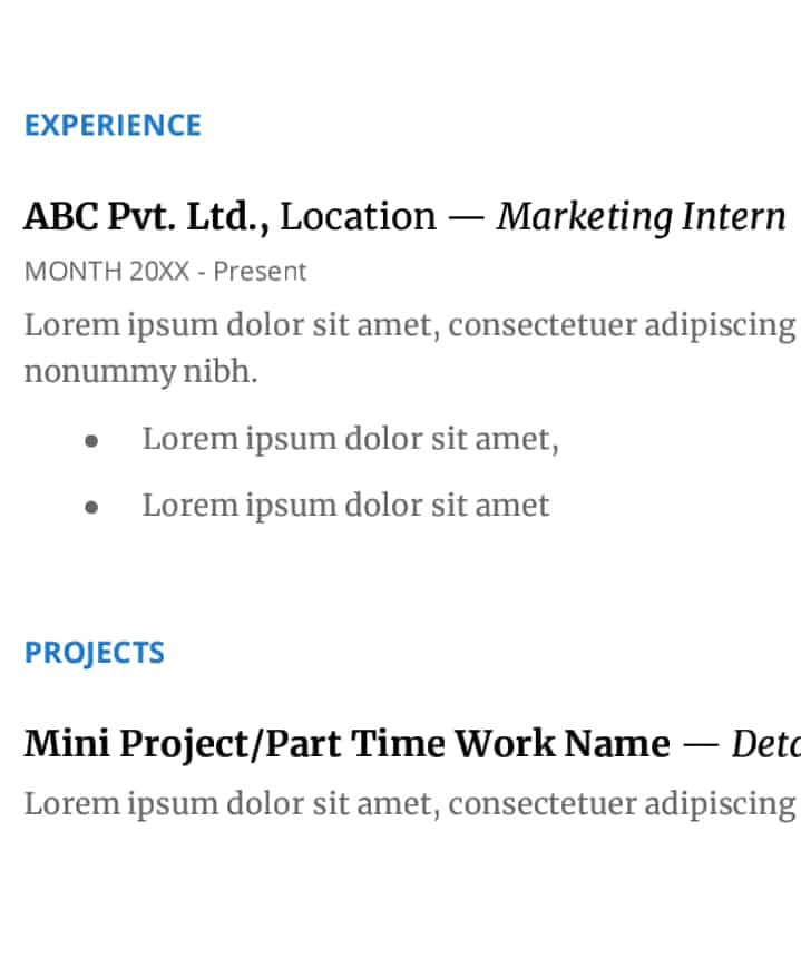 Resume Experience Section for Fresher